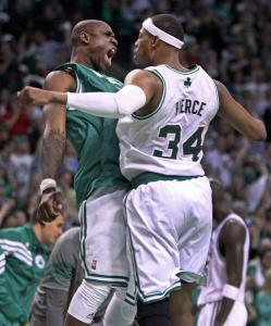 Mickael Pietrus and Paul Pierce celebrate after Pierce&#146;s shot gave the Celtics a 90-84 lead en route to their Game 1 victory.