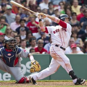 Daniel Nava collected a pair of run-scoring doubles and reached base four times in Sunday&#8217;s rout of the Indians.