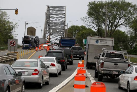 Work to fix the old Sagamore Bridge has caused traffic delays for drivers like these trying to get off the Cape on Tuesday.