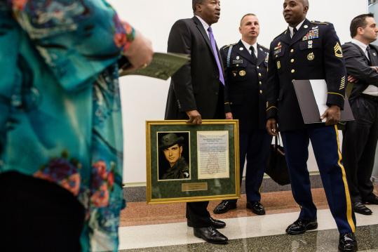 A citation honored Army Specialist Leslie Sabo Jr., who was killed in Cambodia in 1970 and was given the Medal of Honor in a White House ceremony on Wednesday.
