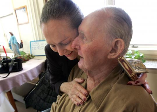 Sonia Weitz met in 2005 with World War II veteran John Meagher, who helped liberate Buchenwald concentration camp.