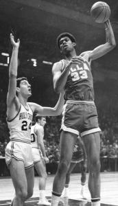 Ed Siudut guarded Lew Alcindor during a game against UCLA. The forward led Holy Cross in scoring his three varsity seasons