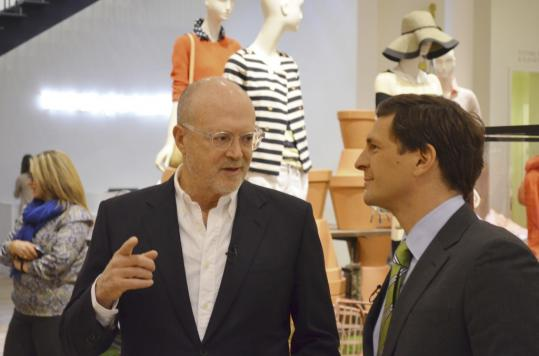 "Mickey Drexler (left) with CNBC anchor David Faber in ""J.Crew and the Man Who Dressed America."""