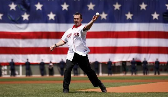 "Trot Nixon, his jersey clean for once, was honored before the game and threw out the first pitch. The ""Dirt Dog'' was with the Sox from 1996 to 2006."