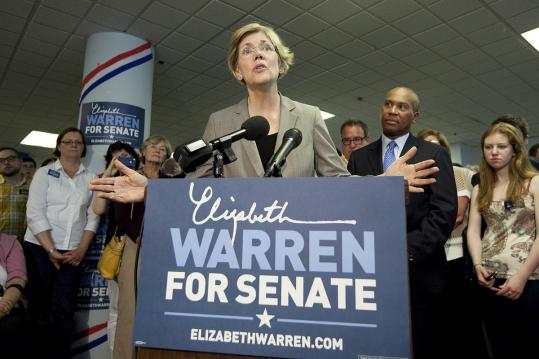 Governor Deval Patrick endorsed Elizabeth Warren&#8217;s candidacy as the state party&#8217;s convention neared. B1.
