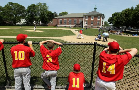 BRAINTREE: At French's Common, the Town Hall juts out into right field and balls that bounce off its wall are in play, while anything over the roof is considered a home run.