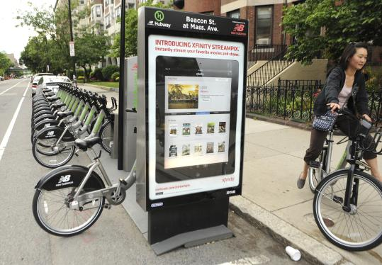 The Hubway bicycle program station at Beacon Street and Massachusetts Avenue.