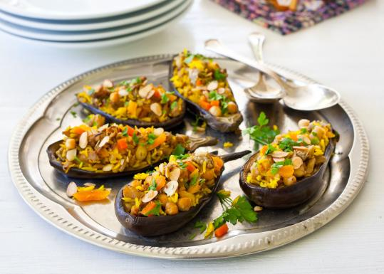 Recipe for eggplant stuffed with saffron rice, apricots, and chickpeas ...