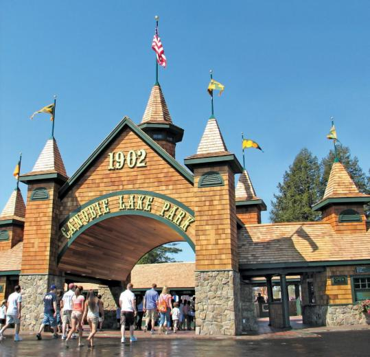 The entrance to Canobie Lake Park and its 85 rides and other attractions.
