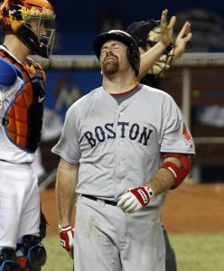 Kevin Youkilis (0 for 3) was feeling the pain after getting plunked in eighth inning.