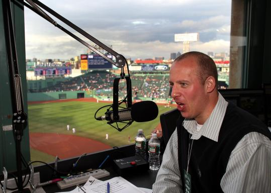 Lowell Spinners announcer Mike Riley in the hot seat at Fenway.