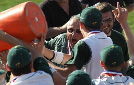 North Reading coach Frank Carey had grown used to being showered with victory over the years as the team earned the skipper his fifth state title.
