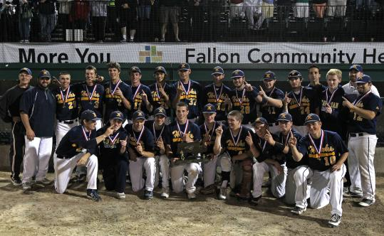 The Xaverian squad poses with the Mass. Interscholastic Athletic Association trophy after its win over Algonquin for the Division 1 state title. Alex Person (below) pitched a complete game to clinch the finale. The Xaverian squad poses with the Mass. Interscholastic Athletic Association trophy after its win over Algonquin for the Division 1 state title. Alex Person (below) pitched a complete game to lock up a 7-1 victory over Algonquin Regional Saturday night for the title.