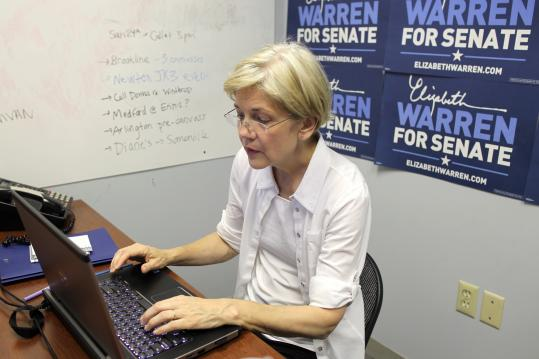 Democratic Senate candidate Elizabeth Warren typed during a chat today with Boston.com readers.