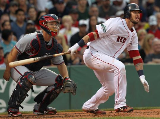 Cleanup hitter Jarrod Saltalamacchia singles as part of a first-inning uprising. He scored the Red Sox' second run, courtesy of a Will Middlebrooks double.