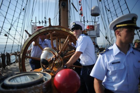 Coast Guard cadets manned Eagle's navigation table. It will be among tall ships in Boston Saturday for Operation Sail.