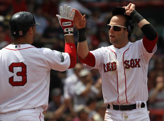 After a six-run first inning, Dustin Pedroia and the Sox had it made in the shade.