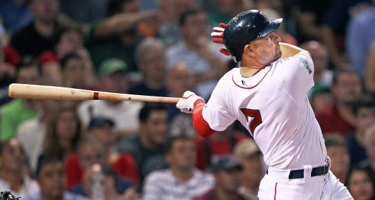 Cody Ross unloads for one of his two three-run homers in the Red Sox' 10-1 rout of the White Sox. The Red Sox right fielder finished 3 for 5 with three runs and six RBIs.
