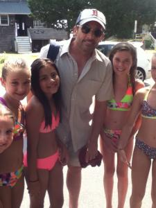 "Near the set of ""The Way, Way Back"" in Marshfield, young fans with actor Steve Carell; at right, actress AnnaSophia Robb with Sam Hay, 11, of Marshfield."
