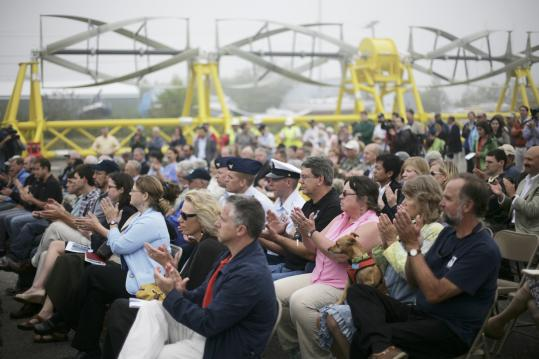 About 200 people attended the dedication ceremony of Ocean Renewable Power's tidal generator Tuesday.