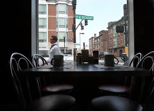 Mul&#8217;s Diner provides a front-row seat to a changing South Boston. One arrival is the 139-unit apartment complex 50 West Broadway, opened in 2010.
