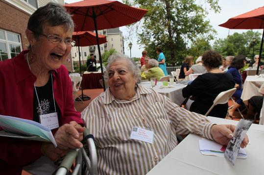 Shirley Harrow (left) had a warm greeting for Alice Zalfa Norman of Quincy at a reunion of area members of the US Cadet Nurse Corps.