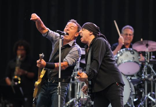 Bruce Springsteen was joined by Steven Van Zandt Tuesday night in concert at Fenway Park. He plays at Fenway again Wednesday night.
