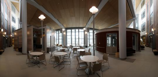 A cafe, general store, bank, library, game rooms, and gyms encourage patients to interact with others in the hospital.