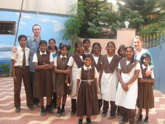Michael and Allie Rosene-Mirvis Schachter, who were inspired to launch the Chennai Children Foundation to fight human trafficking after a six-month stay in India, visit with students helped by their organization.