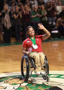 "In recognition of her efforts to inspire and mentor athletes with disabilities, Forber-Pratt was honored as a ""Hero Among Us"" during a Boston Celtics game last year at TD Garden."