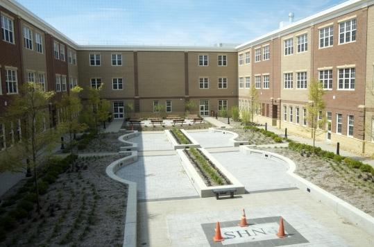The courtyard at the new Plymouth North High, which was built for $83 million.