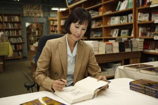 "Tess Gerritsen signed copies of her new book, ""Last to Die,'' at New England Mobile Book Fair."