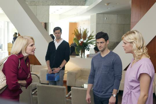 """From left: Ellen Barkin, Andrew Rannells, Justin Bartha, and Georgia King in """"The New Normal.''"""
