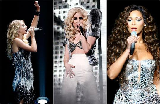 Taylor Swift, Lady Gaga, and Beyonce
