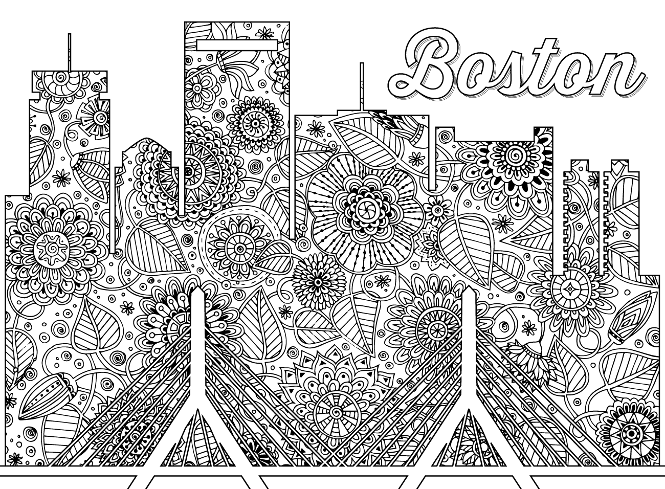 click here to download a full size version of this boston themed coloring sheet - Color Books For Adults