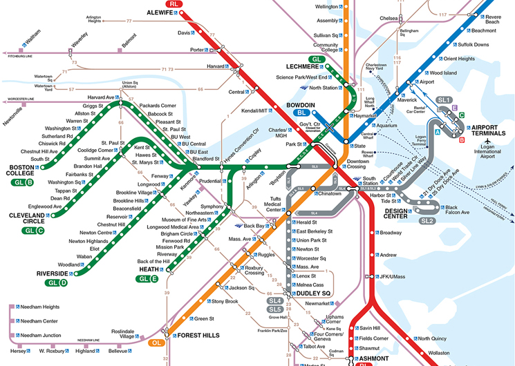 This geographically accurate MBTA map shows its many twists and