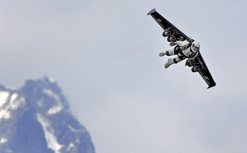 Swiss pilot Yves Rossy, the world's first man to fly with a jet-powered fixed-wing apparatus strapped to his back