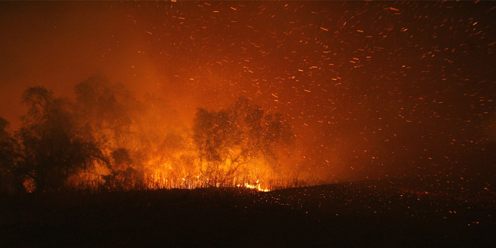 Embers fly as wildfires burn