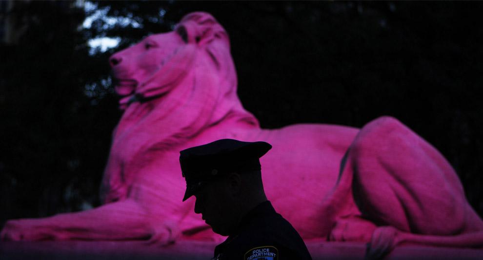 Офицер нью-йоркской полиции стоит у каменного льва освещенного розовой иллюминацией перед началом мероприятия по презентации DVD полнометражного фильма Секс в большом городе. Нью-Йорк, 18 сентября 2008. (REUTERS/Lucas Jackson)