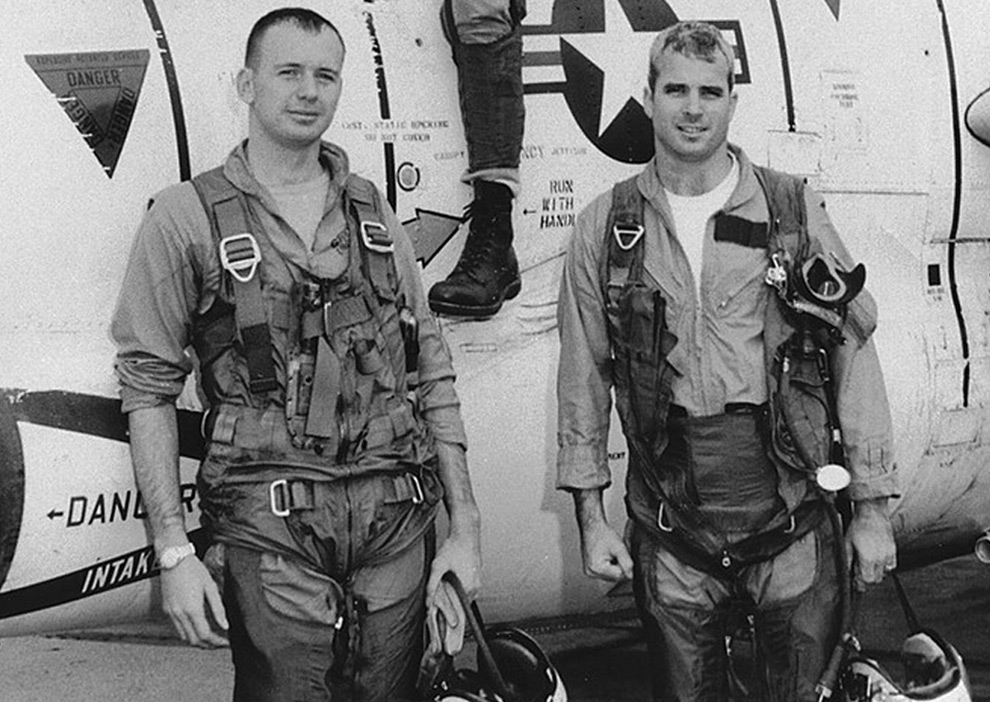 Navy Pilot John McCain, right, with members of his squadron in an ...