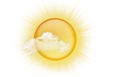 Mostly sunny; warm