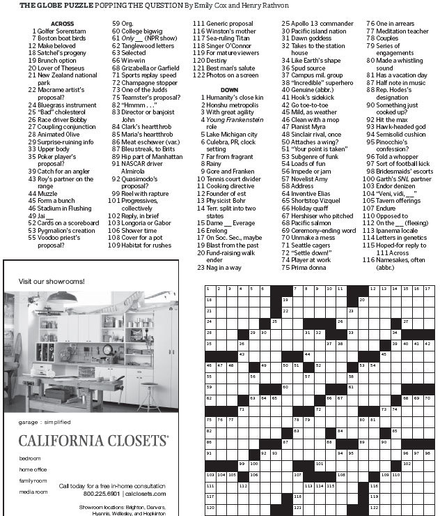 picture about Boston Globe Crossword Printable identified as Entire world Journal Crossword - The Boston Entire world