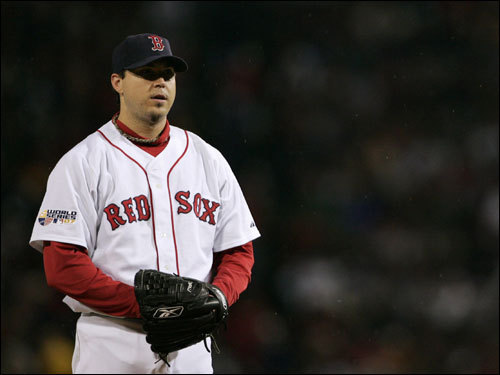 Josh Beckett prepared to go into his windup during the game.