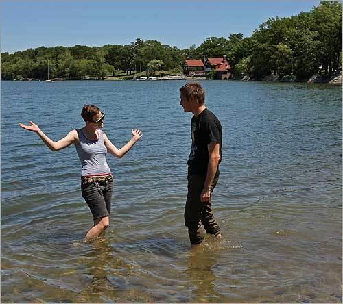 Girls skinny dipping in pond