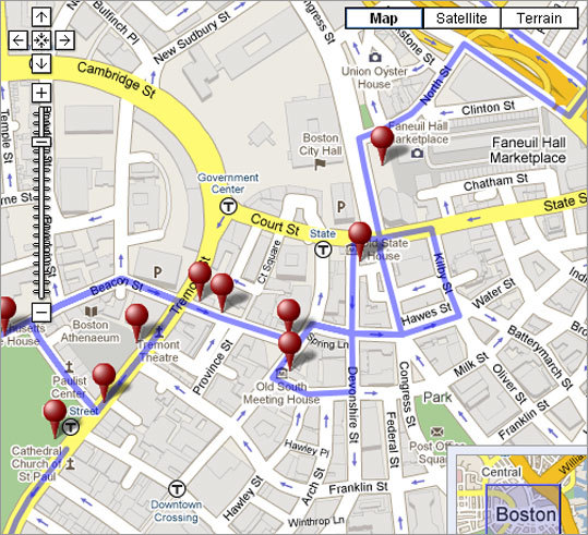 walking tour of boston map Historic Boston Guided Gps Tour Boston Com walking tour of boston map