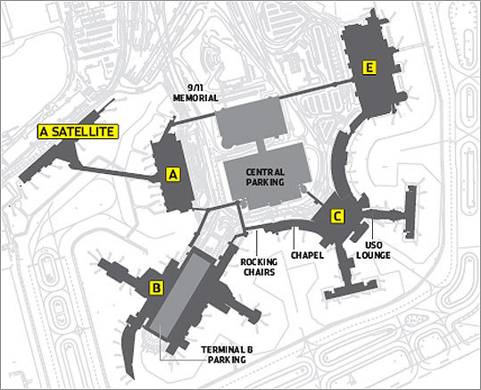 Logan Airport Terminal C Map From A to E at Logan Airport   The Boston Globe