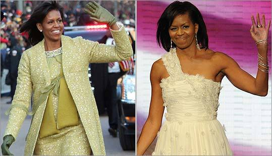 Michelle Obama on Pennsylvania Avenue yesterday and at the Neighborhood Ball last night.