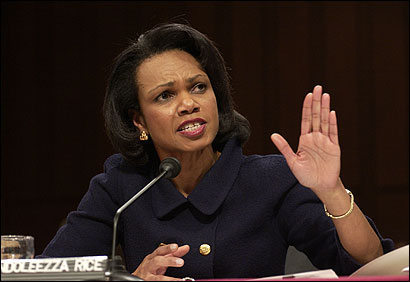 Condoleezza Rice testified on aiding Iran democracy efforts yesterday before the Senate Foreign Relations Committee.