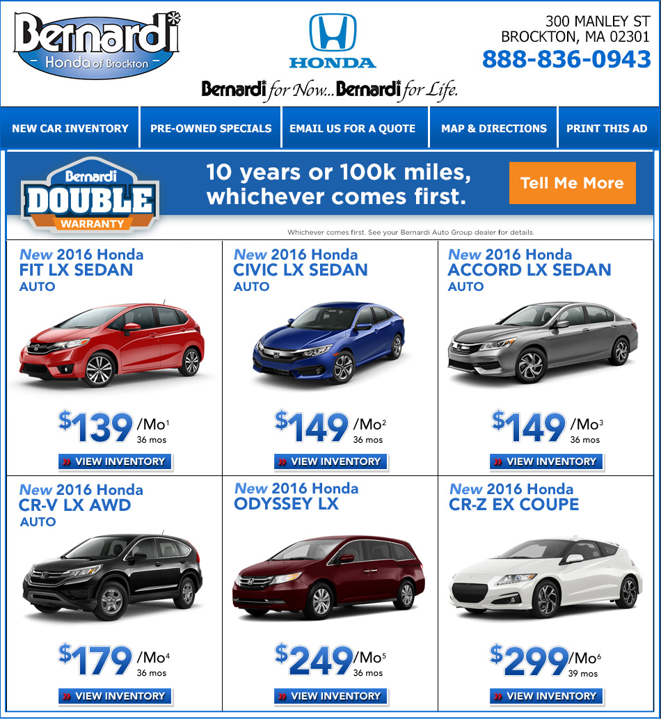 1 Lease For $139 Per Month For 36 Months And 12,000 Annual Miles With  $1,999 Cash Or Trade Down With Approved Credit Through Honda Financial  Services.