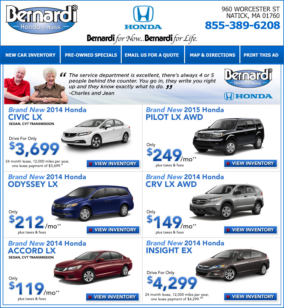 Massachusetts Honda Dealers: Bernardi Honda Of Natick,Mass